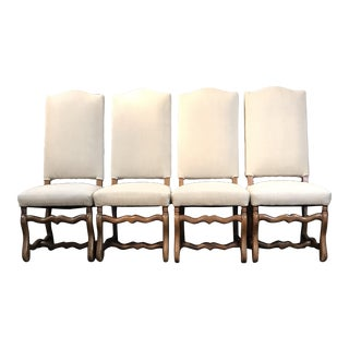 Classic French Os De Mouton Walnut Dining Chairs -Set of 4 For Sale