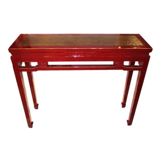 Red Console With Rattan Top
