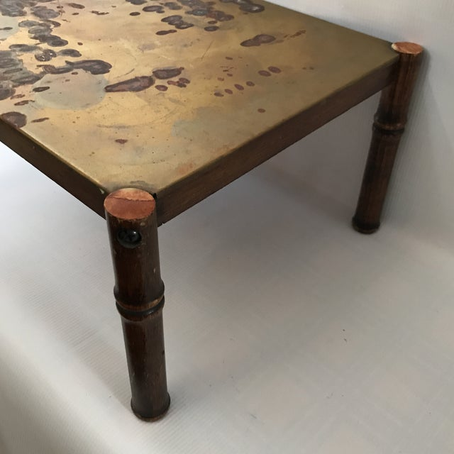 Asian Vintage Brass and Faux Bamboo Stand For Sale - Image 3 of 8