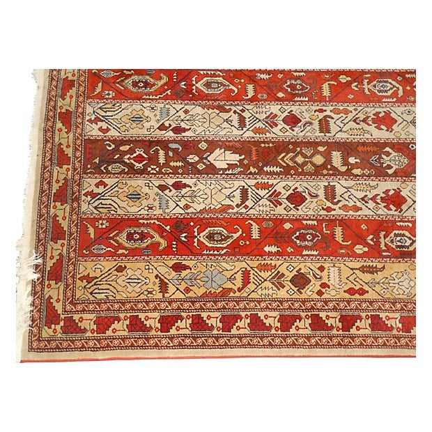 "Vintage Rust Striped Azerbaijani Rug - 4' x 5'8"" - Image 4 of 4"