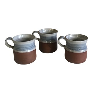 Hand Glazed Ceramic Mugs - Set of 3 For Sale