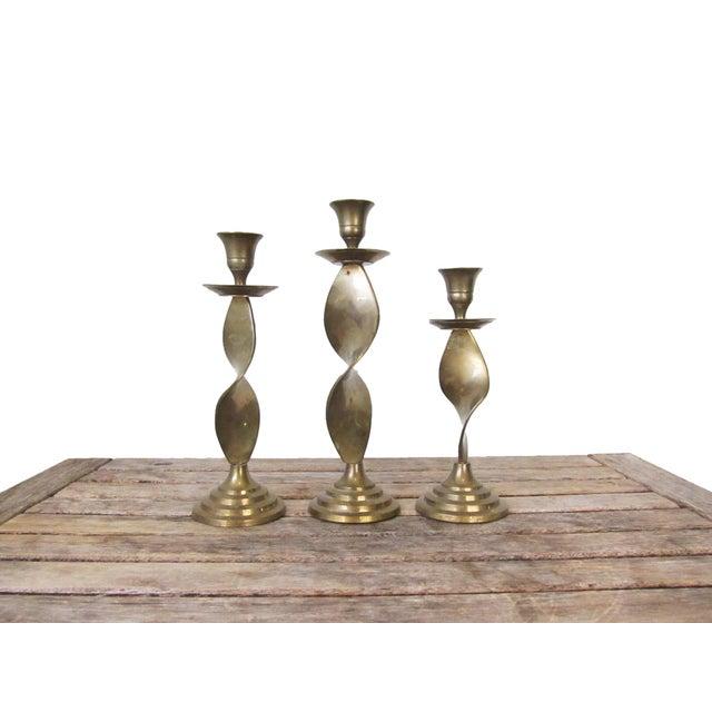 Vintage Brass Candlesticks -Set of 3 For Sale - Image 10 of 10