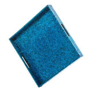 Blue Basket Weave Tray, Square For Sale