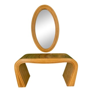 Pencil Reed Rattan Console Table and MIrror After Gabriella Crespi For Sale