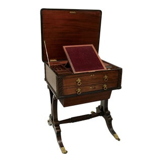 1820 Federal Mahogany and Ebony Worktable For Sale