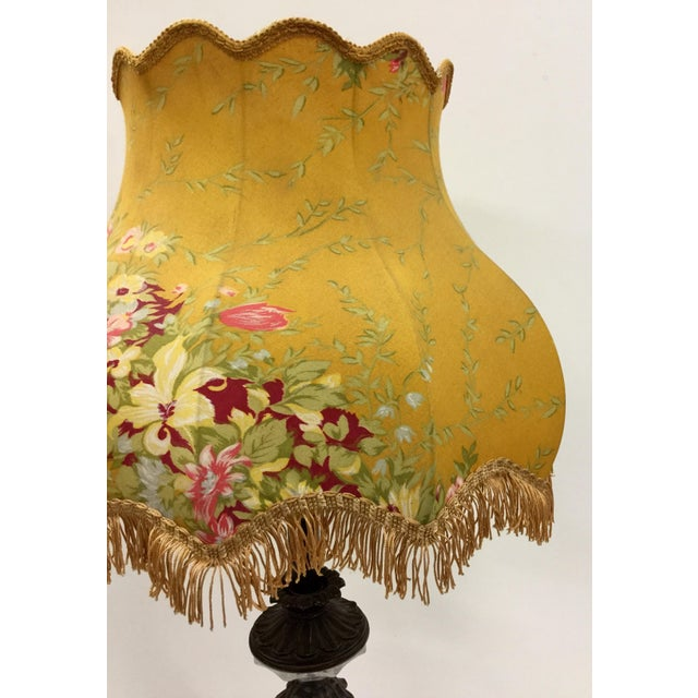 1930s Vintage Glass Table Lamp With Antique French Lampshade For Sale - Image 5 of 13