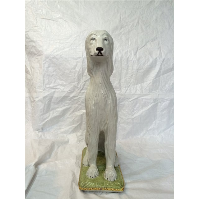 Italian Ceramic Afghan Hound Statue For Sale - Image 11 of 11