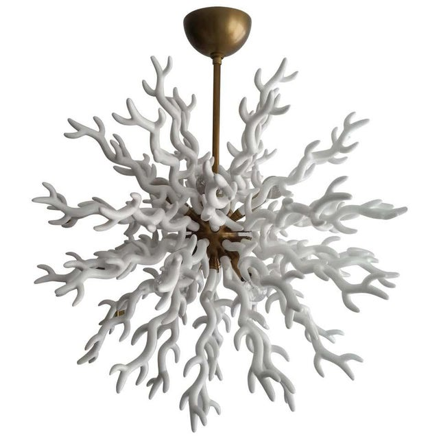 White White Faux Coral Chandelier Tony Duquette Style For Sale - Image 8 of 9