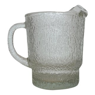 Large Brutalist Glass Pitcher From 70's For Sale