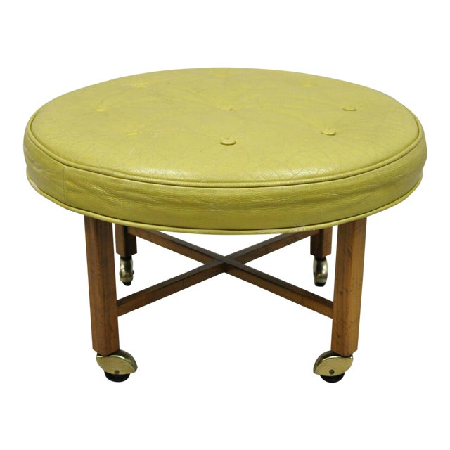 Vintage Mid Century Baker Milling Road Round Leather & Walnut Ottoman For Sale