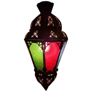 Moroccan Glass Lantern Balouta Style, Multicolored Red Green Blue Glass For Sale
