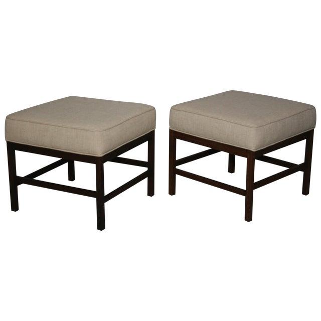 Mid-Century Walnut Frame Upholstered Stools - Pair - Image 1 of 6
