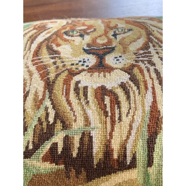 Vintage Mid Century Lion Needlepoint Pillow For Sale - Image 4 of 8