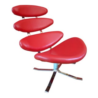 Red Leather Chrome Swivel Corona Chair For Sale