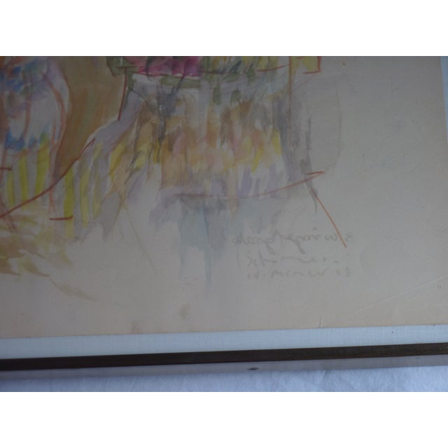 Mid-Century Abstract Watercolor Painting For Sale - Image 4 of 6