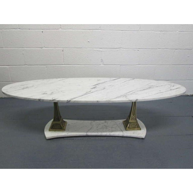 Italian Marble and Brass Oval Top Coffee Table - Image 2 of 6