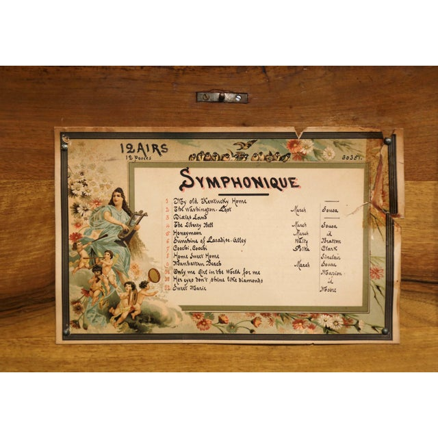 Late 19th Century Large 19th Century Swiss Inlaid Walnut Cylinder Zither Music Box With 12 Songs For Sale - Image 5 of 11