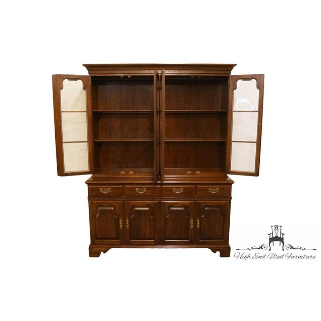 "Ethan Allen 20th Century Traditional Ethan Allen 62"" Buffet With Lighted Bubble Glass China Cabinet Hutch For Sale - Image 4 of 6"
