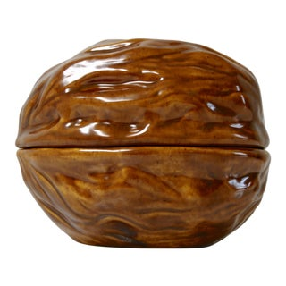 Arnels Ceramic Walnut Lidded Dish For Sale