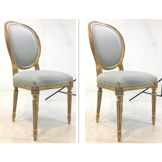 Wood Currey and Co. French Style Palais Blue and Gold Side Chairs Pair For Sale - Image 7 of 7