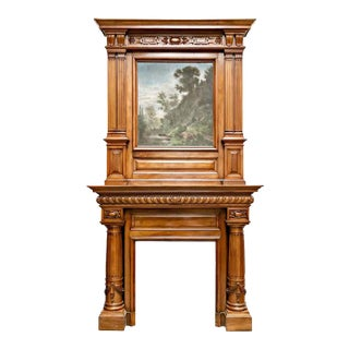 Monumental French Renaissance Revival Walnut Fireplace with Trumeau Overmantel For Sale