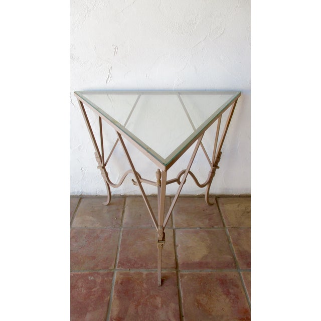 Vintage Mediterranean Wrought Iron and Glass Tall OutDoor Table Bar For Sale - Image 11 of 13