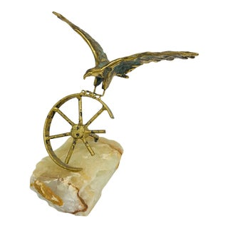 Brass Eagle on Wheel Quartz Statuette