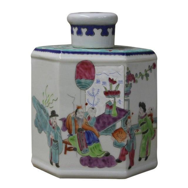 Chinese Family Harmony Porcelain Tea Jar - Image 1 of 5