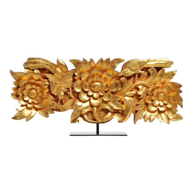 Teak Wood Carving With Gold Paint on Metal Stand For Sale