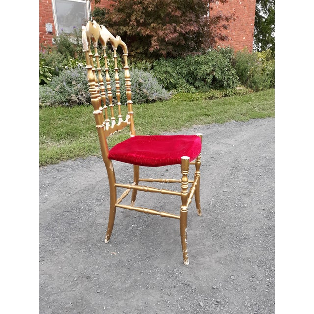 Vintage Italian Chiavari Chair in Gold Over Wood For Sale - Image 9 of 12