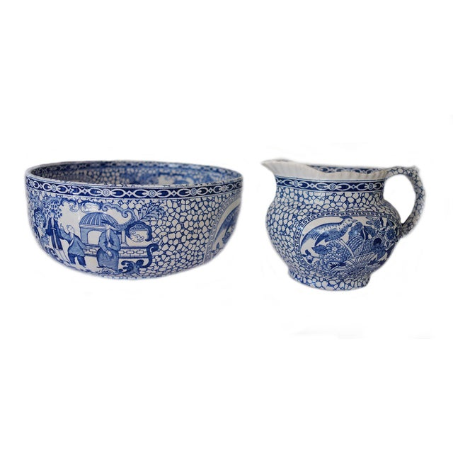 1930's Vintage William Adams Chinese Bird Pattern Bowl & Jug For Sale - Image 13 of 13