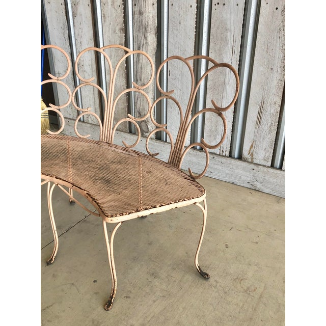Midcentury French Garden Bench For Sale - Image 4 of 5