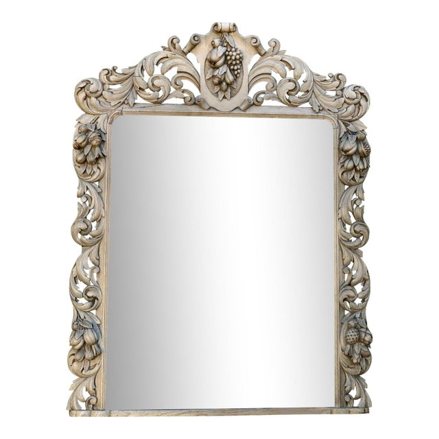 Early 19th Century Huge Antique Early 19c Baroque Carved Bleached Oak Mirror For Sale - Image 5 of 5