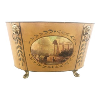 Vintage Oval Italian Metal Footed Planter Painted With Lion Head Details For Sale