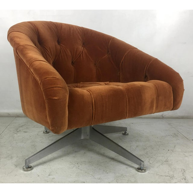 Lehigh Leopold Tufted Swivel Chairs by Ward Bennet for Lehigh Leopold - a Pair For Sale - Image 4 of 8