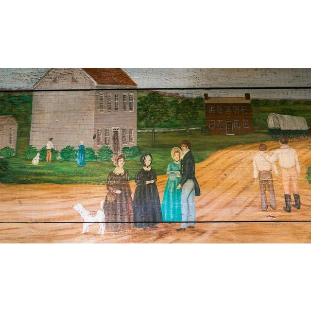 Blanket Chest with Equestrian Scene Hand-Painted by American Folk Artist Lew Hudnall For Sale In Houston - Image 6 of 8