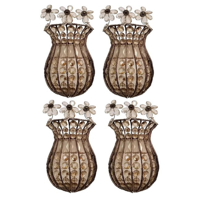 Mid 19th Century Italian Hand Beaded Crystal Sconces. 2 Pairs - Total of 4. For Sale - Image 5 of 5