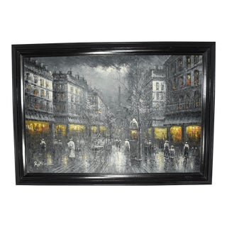 """Early 20th Century """"Paris at Night"""" Cityscape Oil Painting by R. Frank, Framed For Sale"""