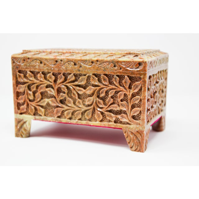 Anglo Raj carved soap stone footed jewelry box. Handcrafted decorative box with foliage design with soap stone natural...