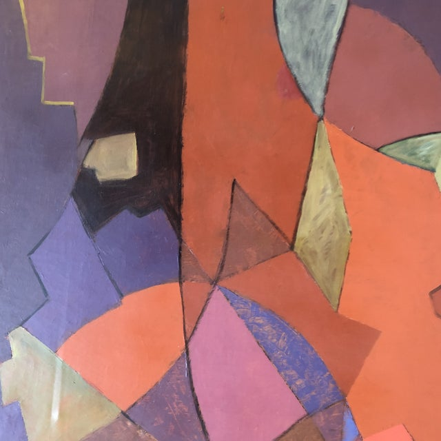 Contemporary Vintage Original Geometric Abstract Painting 1950's Signed 33 X 39 For Sale - Image 3 of 7