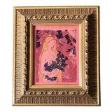 Image of Original Vintage 1971 Female Nude With Flowers Wood Block Print Ornate Frame For Sale