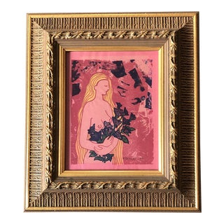 Original Vintage 1971 Female Nude With Flowers Wood Block Print Ornate Frame For Sale