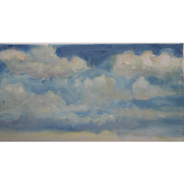 """Impressionist Small Oil Painting on Canvas Board """"Hudson Valley Skies"""" by Listed Artist John Elliot For Sale - Image 4 of 12"""