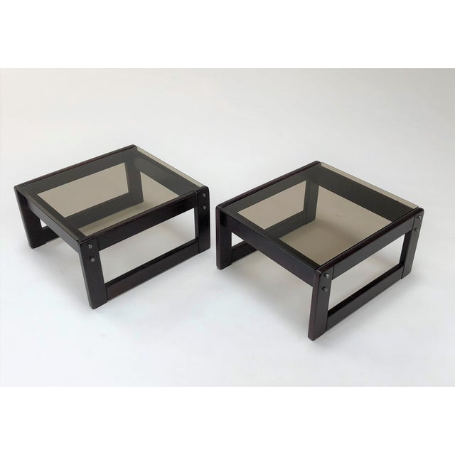 Percival Lafer 1960s Mid-Century Modern Percival Laver Rosewood and Glass Side Tables - a Pair For Sale - Image 4 of 13