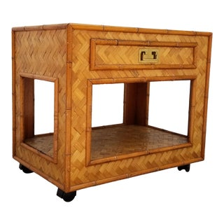 1980s Campaign Woven Rattan/Faux Bamboo Nightstand. For Sale
