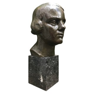 Art Deco South American Bronze Bust of a Lady For Sale