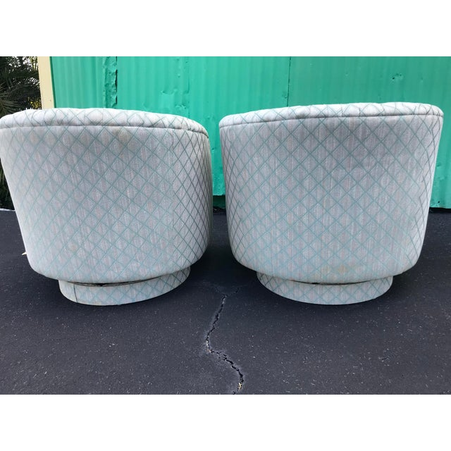 Mid-Century Modern 1980s Mid-Century Modern Barrel Swivel Chairs - a Pair For Sale - Image 3 of 12