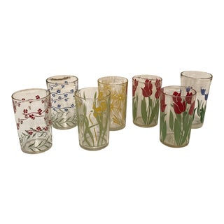 1950s Floral Design Tulips and Leaves Various Glasses - Set of 7 For Sale