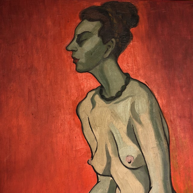 Expressionism Large Original Vintage Alicia Cajiao Female Nude Painting For Sale - Image 3 of 6