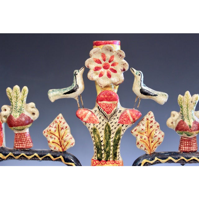 Vintage Mexican Tree of Life Pottery Aurelio Flores Candelabra Sculpture For Sale - Image 9 of 13